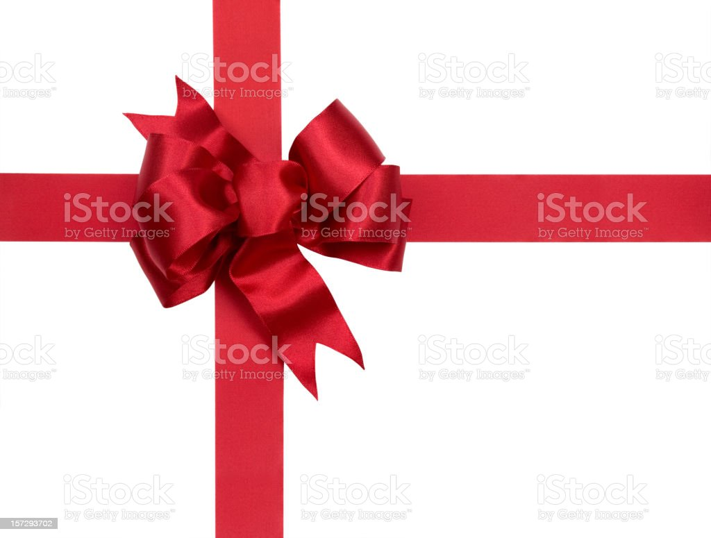 Christmas Gift Red Bow Isolated on White with Clipping Path royalty-free stock photo