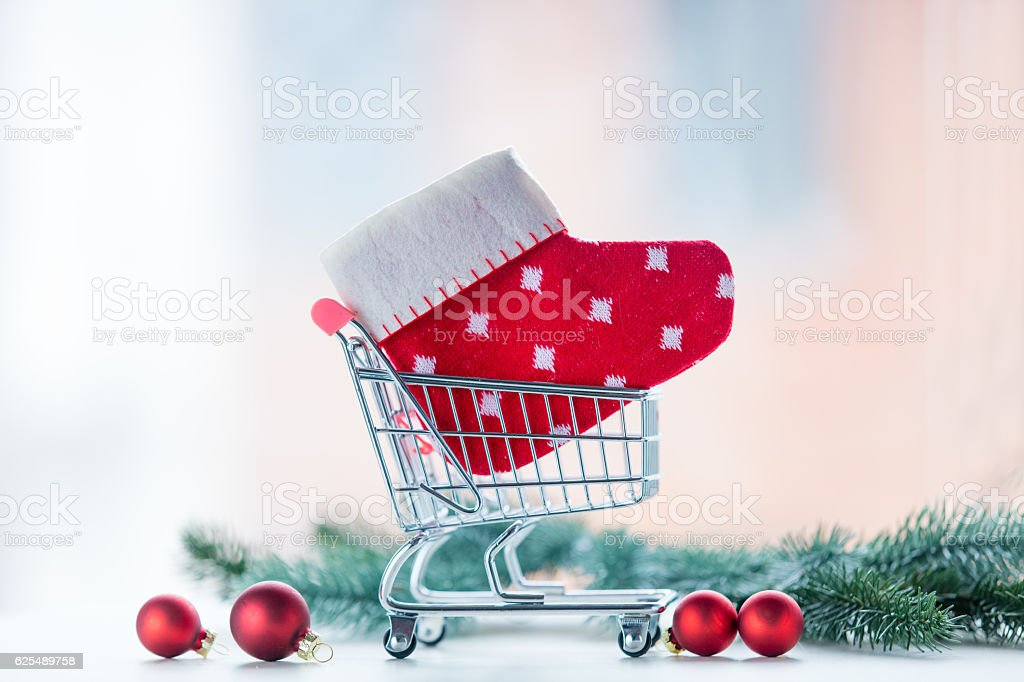 Christmas gift shopping cart stock photo
