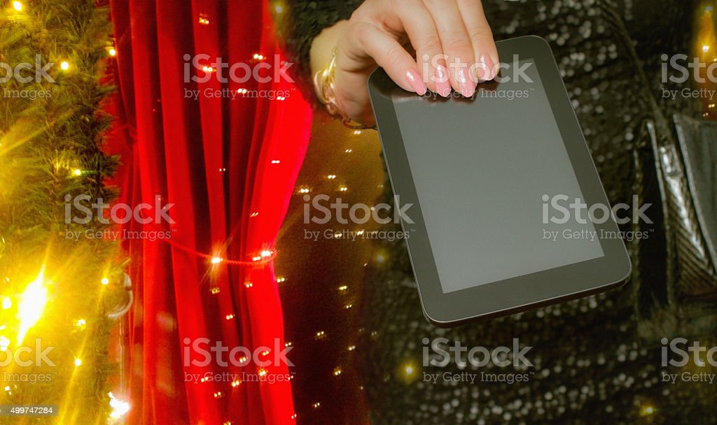 christmas gift tablet  ( clipping path: display) stock photo