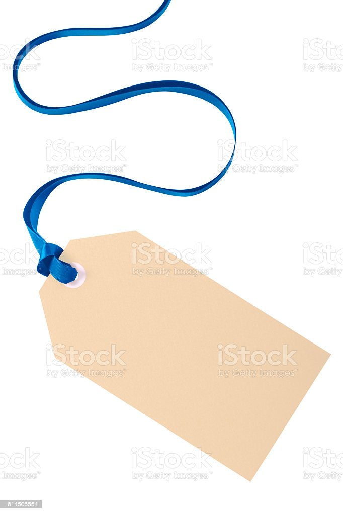 Christmas gift tag with blue ribbon isolated on white background stock photo