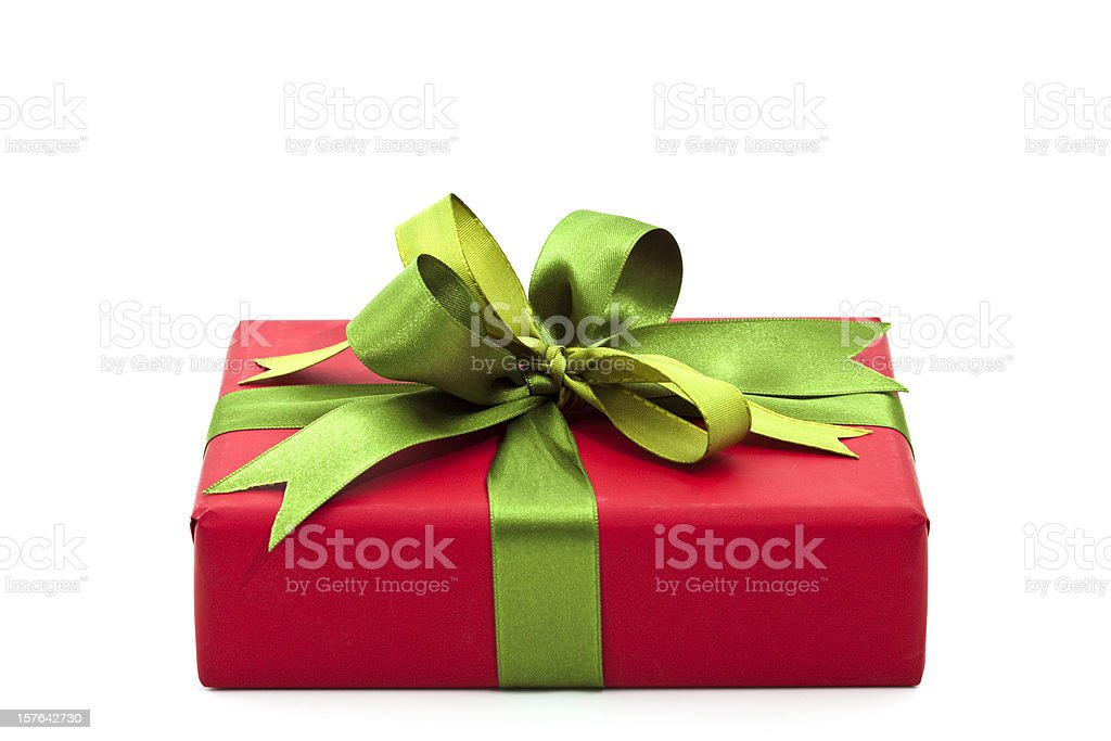 Christmas gift with a green bow royalty-free stock photo