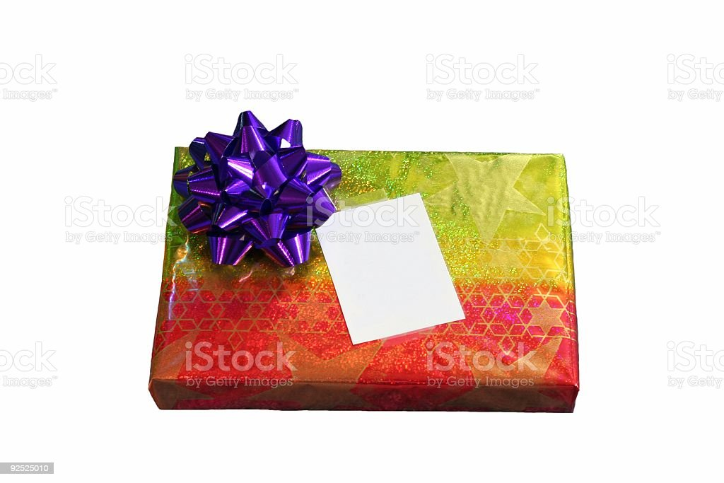 Christmas Gift with Blank Card royalty-free stock photo