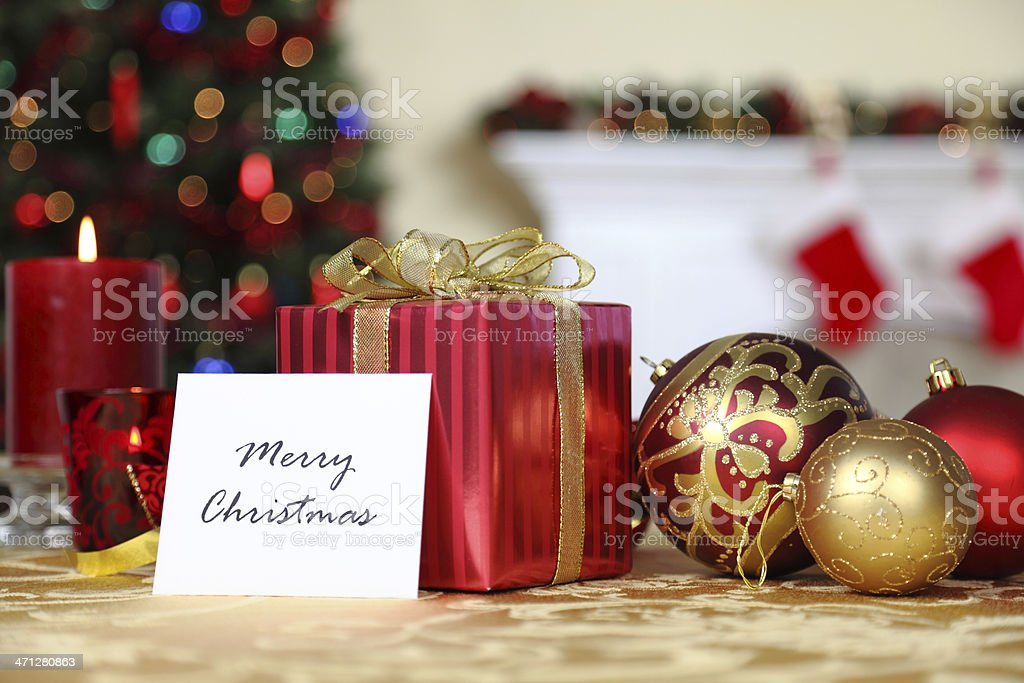 Christmas Gift With Card stock photo