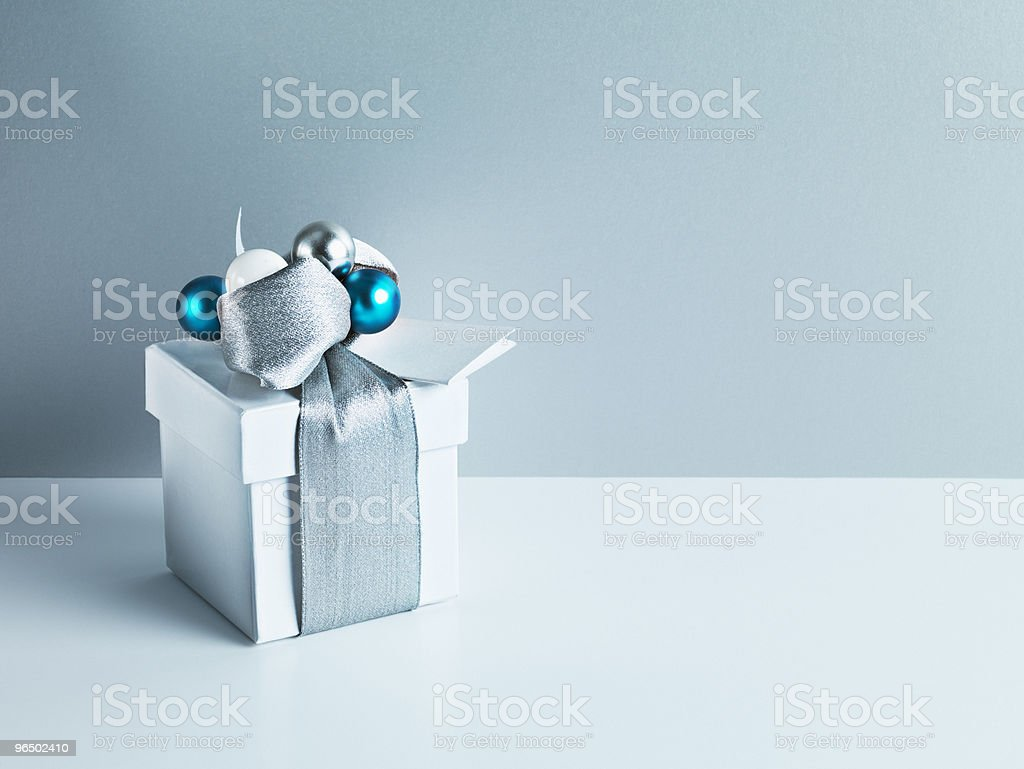 Christmas gift with silver ribbon royalty-free stock photo