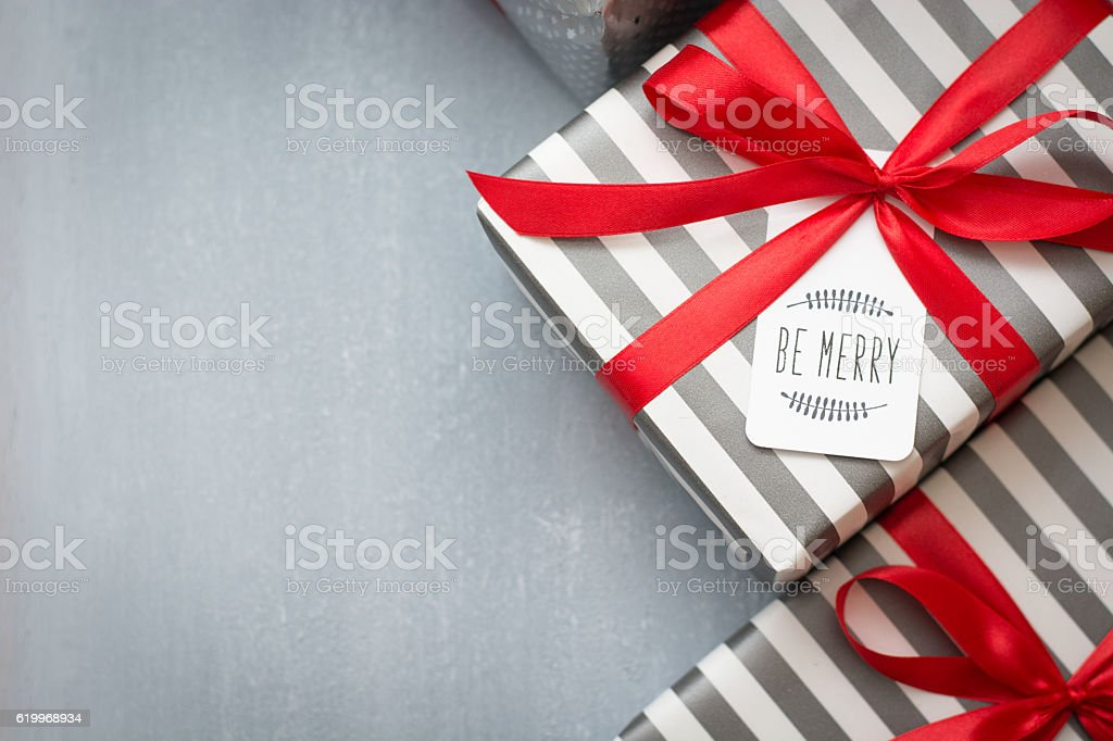 Christmas gift with tag stock photo