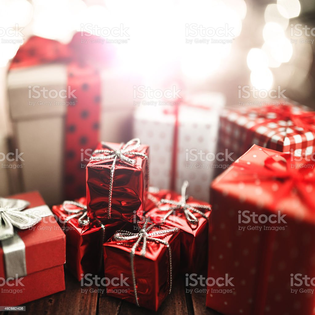christmas gift with the red ribbon stock photo