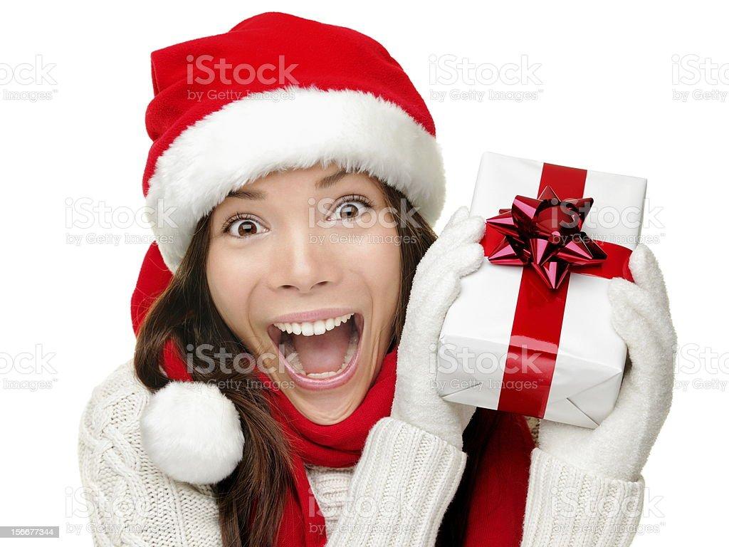 Christmas gift woman isolated stock photo