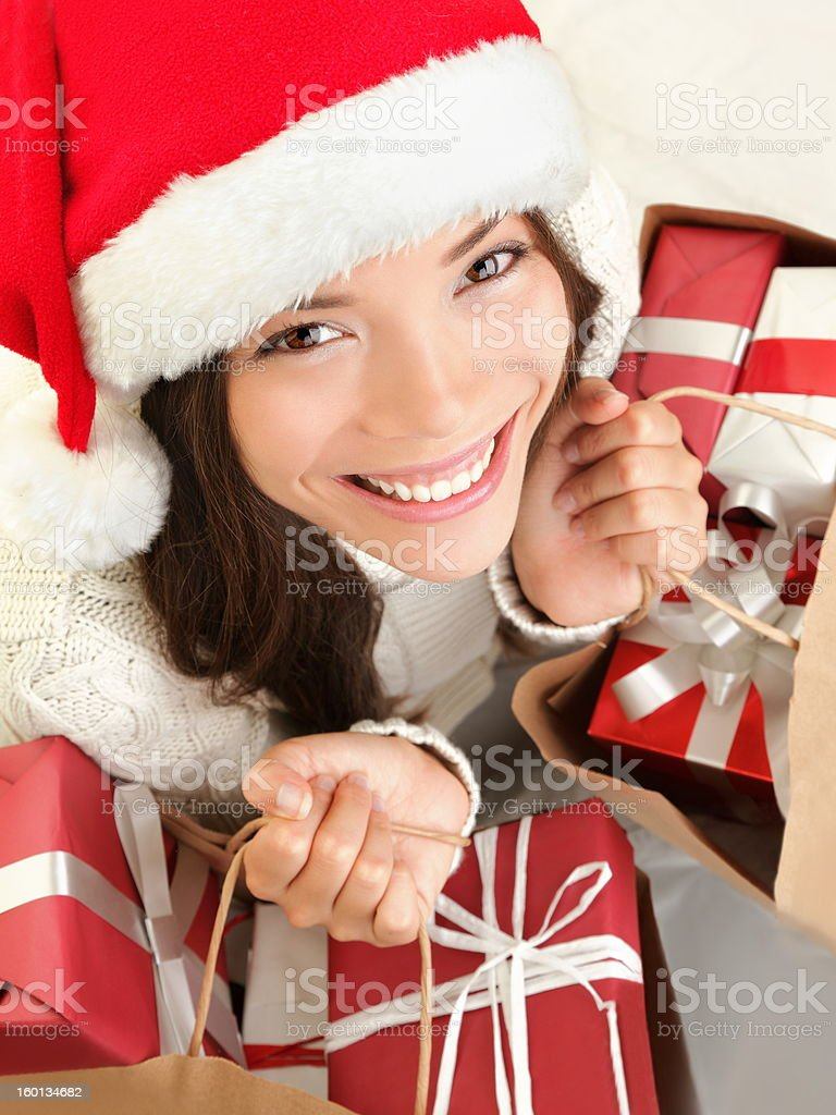 Christmas gift woman shopping royalty-free stock photo