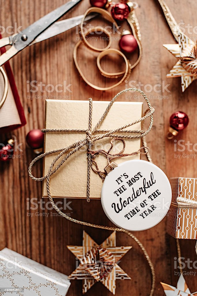 Christmas gift wrapping background overhead stock photo