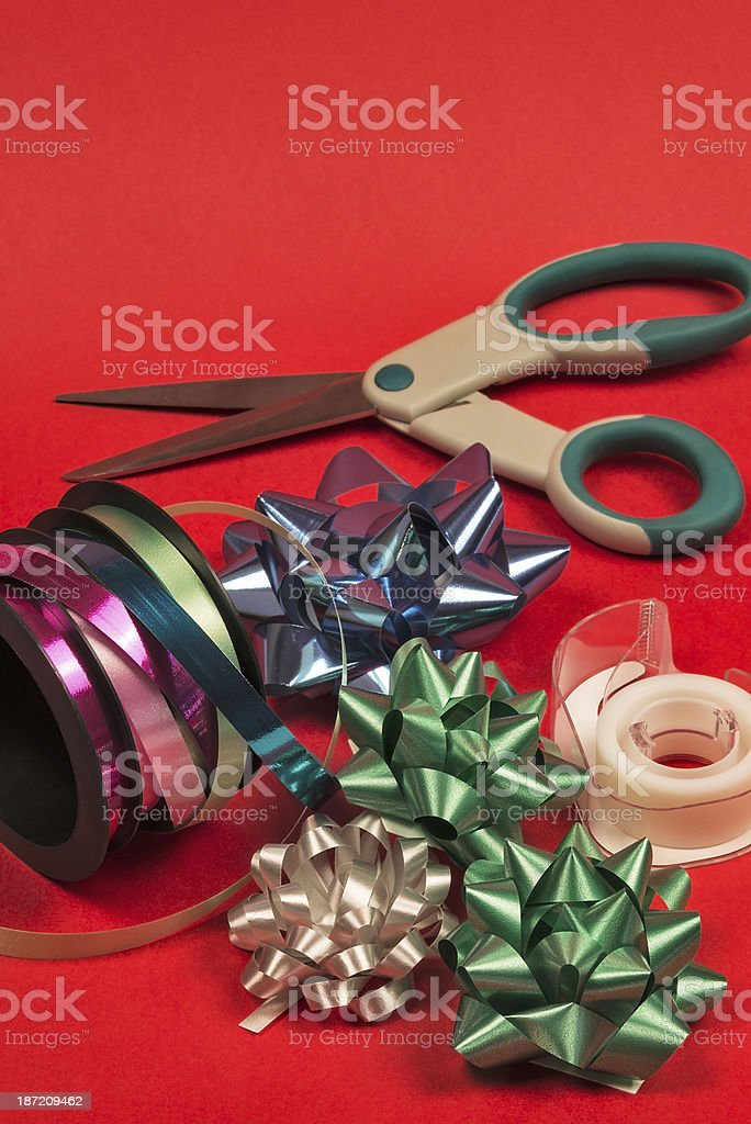 Christmas gift wrapping supplies royalty-free stock photo