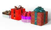 Christmas Gifts 3D Illustration Isolated On White
