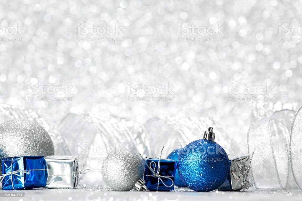 Christmas gifts and balls stock photo