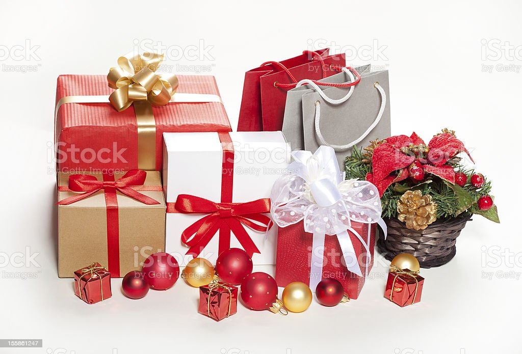 Christmas gifts and decorations on a white background royalty-free stock photo