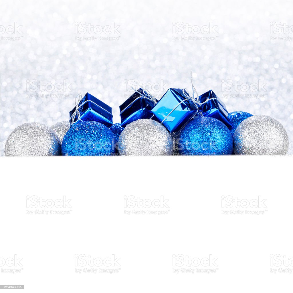 Christmas gifts and decorative balls stock photo