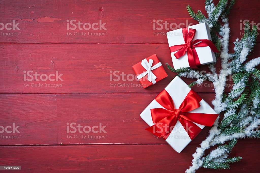 Christmas Gifts and Garland stock photo