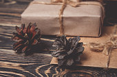 Christmas gifts box presents on brown