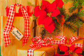 Christmas Gifts in Red gingham ribbon,  and Red Poinsettias (P)