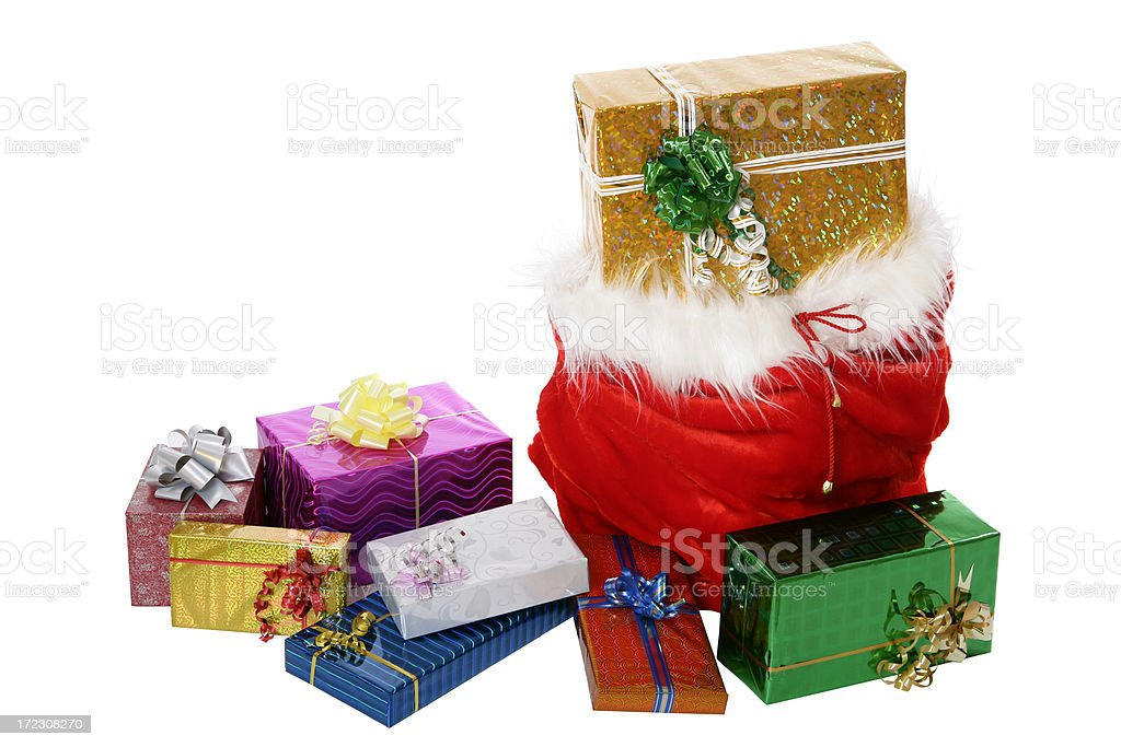 Christmas Gifts (on white) royalty-free stock photo