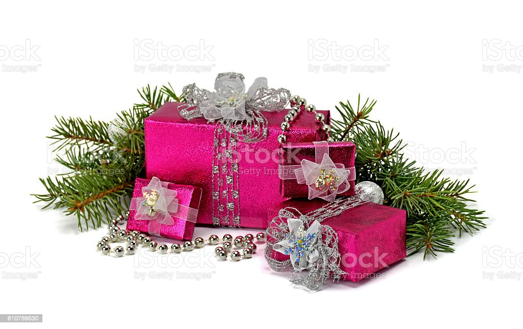 Christmas gifts with silver ribbon isolated on white background. stock photo