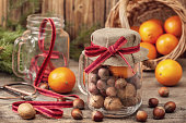 Christmas gifts with tangerines and nuts