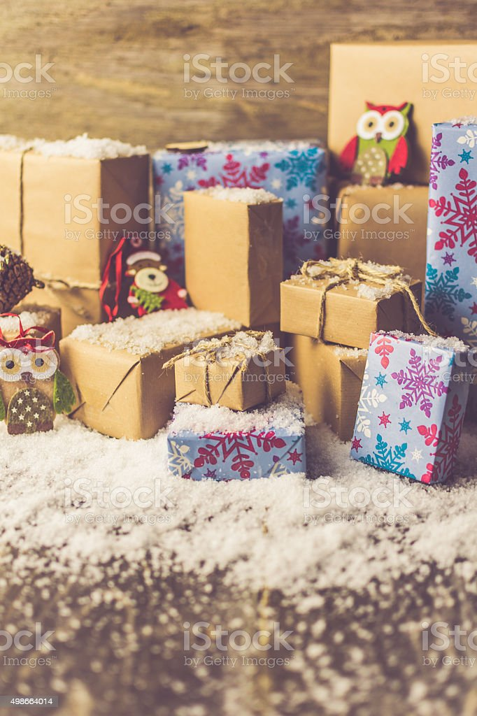 Christmas Gifts with the Snow stock photo