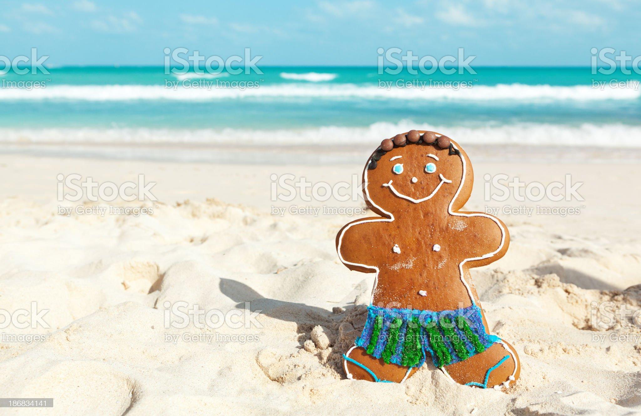 Christmas Ginger Bread Man Winter Vacation on Caribbean Beach royalty-free stock photo