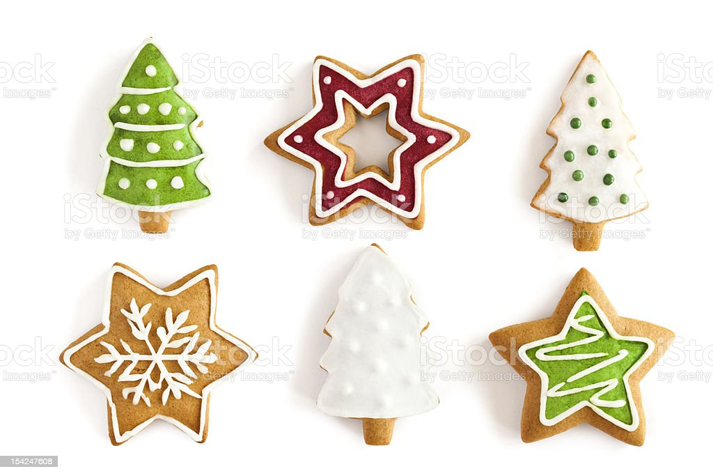 Christmas Ginger cookies on isolated white background stock photo