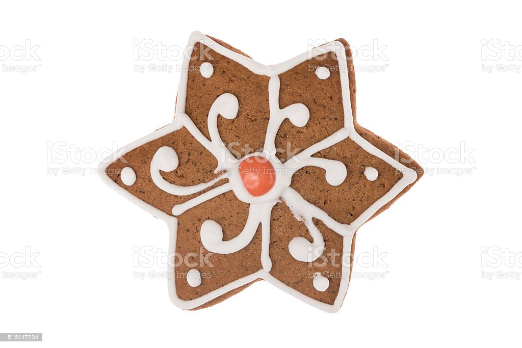 Christmas gingerbread 6-sided star isolated on a white background stock photo