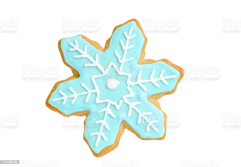 christmas gingerbread cookie blue snowflake isolated on white stock photo
