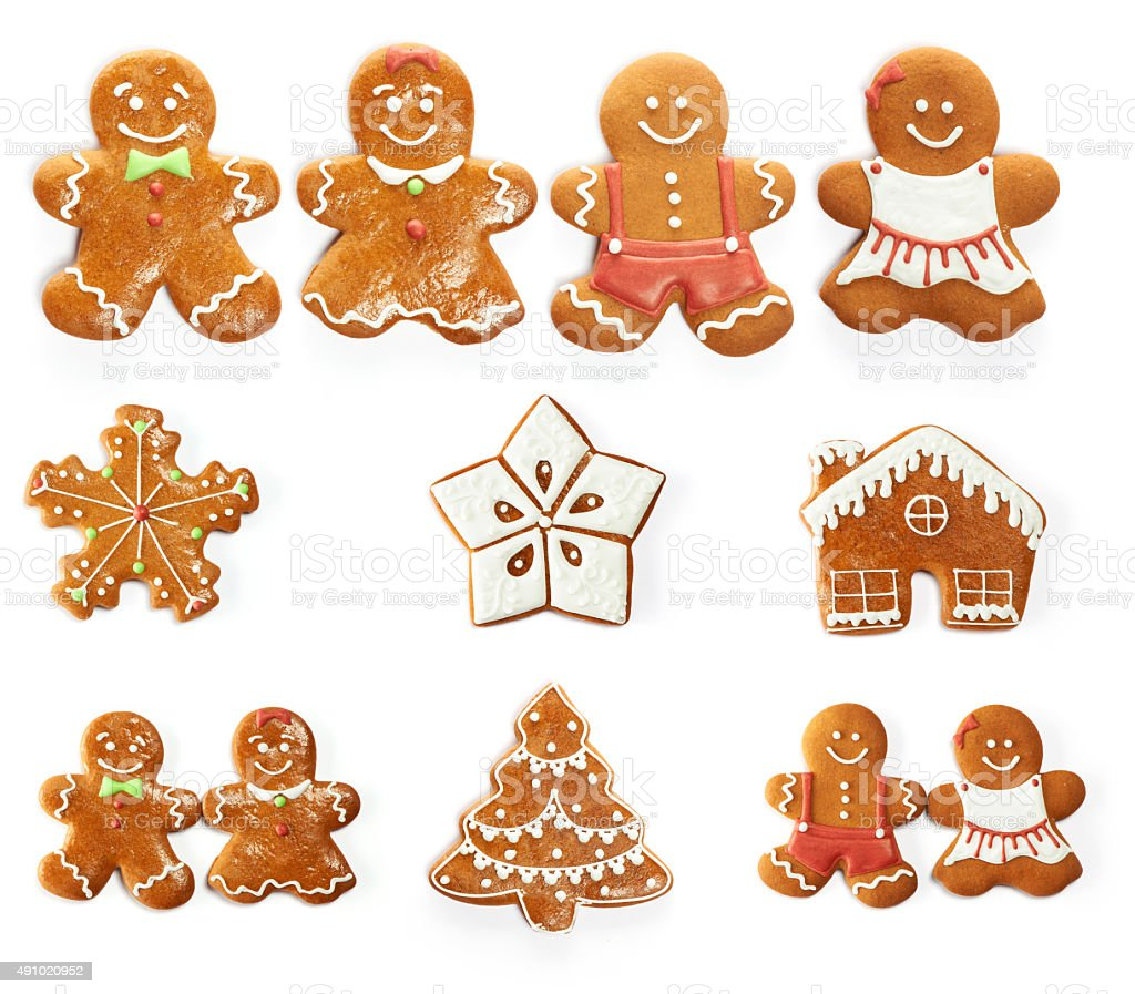 Christmas gingerbread cookie set stock photo