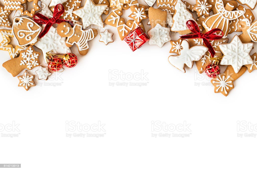 Christmas Gingerbread cookies frame on white background stock photo