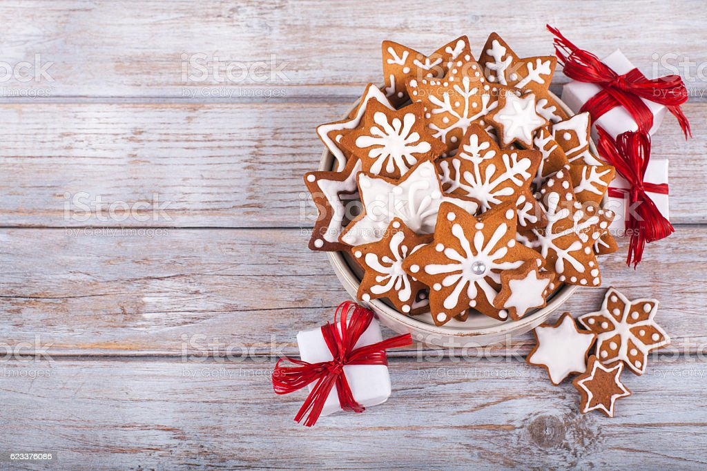 Christmas gingerbread cookies star sahpe on wooden table. stock photo