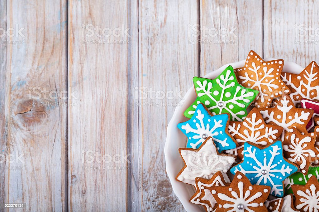 Christmas Gingerbread Cookies Stars on wooden table. stock photo