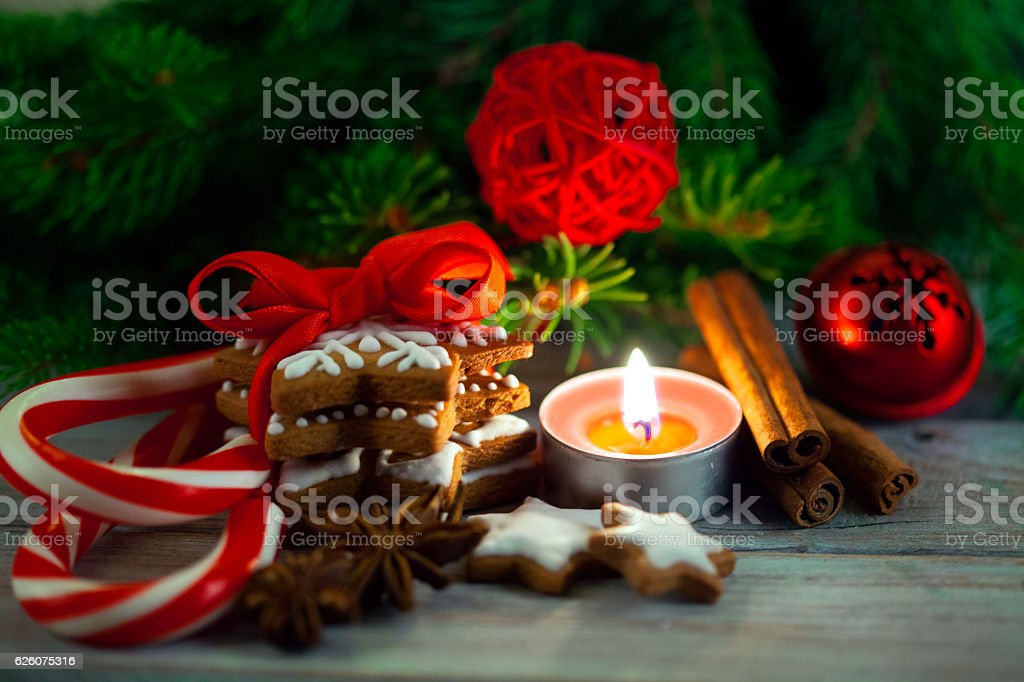 Christmas gingerbread cookies with candy and christmas tree stock photo