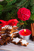 Christmas gingerbread cookies with candy and christmas tree