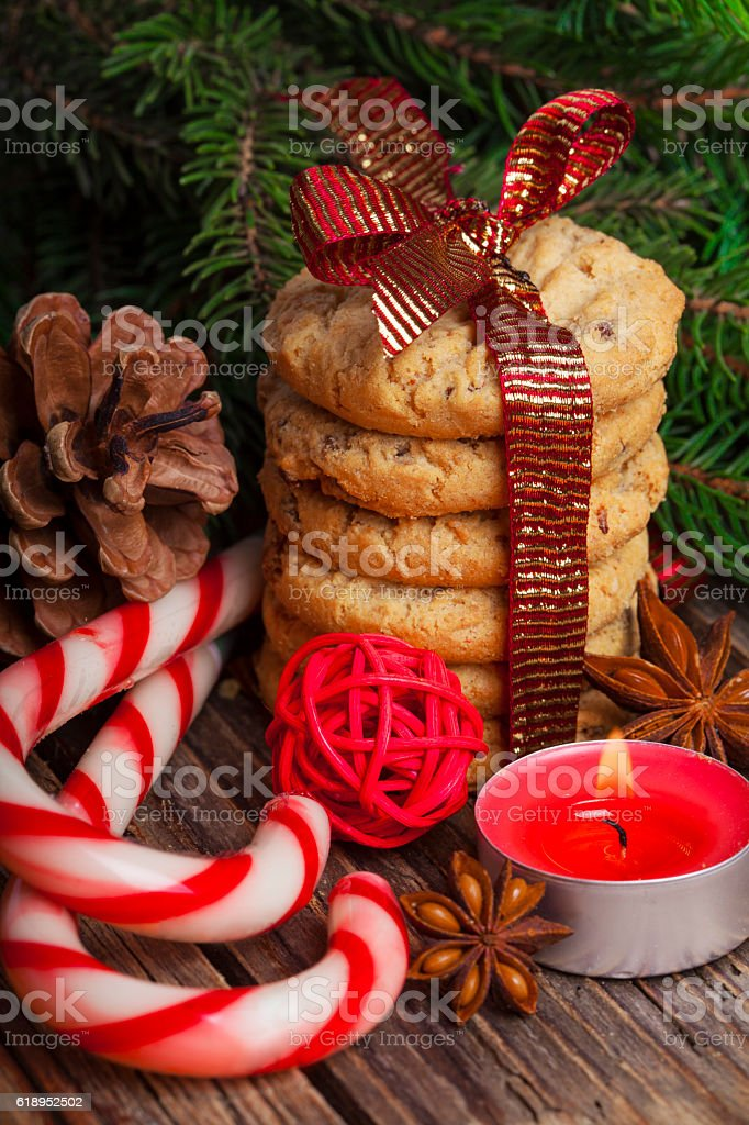 Christmas Gingerbread cookies with decorations stock photo