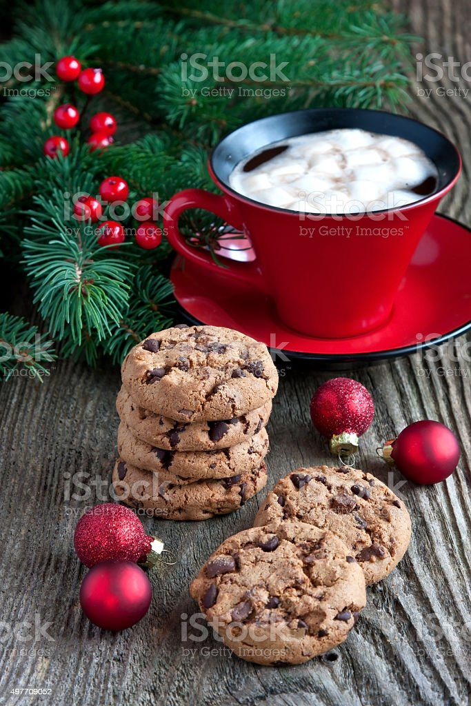 Christmas Gingerbread cookies with  hot drink vector art illustration