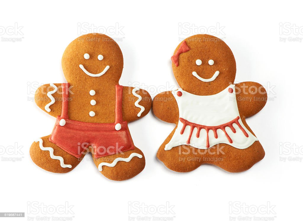 Christmas gingerbread couple cookies stock photo