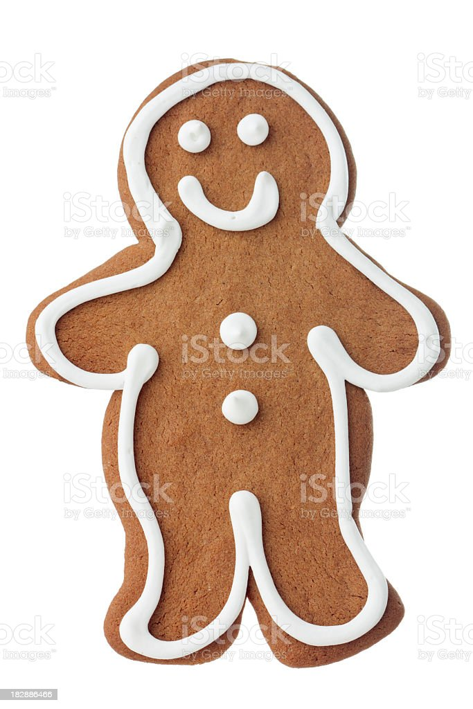 Christmas Gingerbread Man Cookie, Decorated, Frosted Dessert Isolated on White stock photo