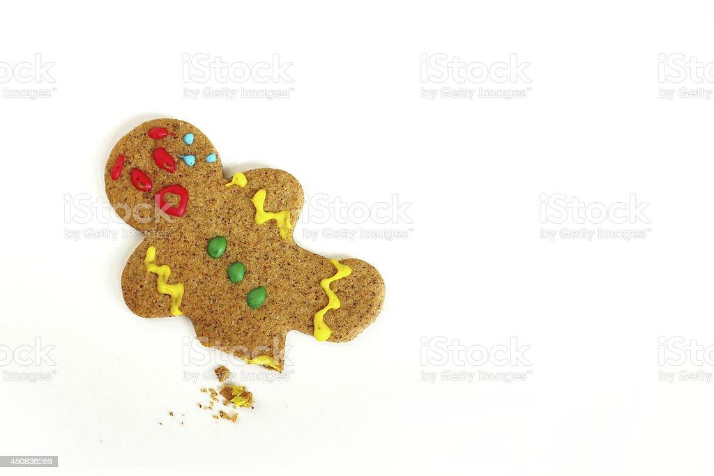 Christmas Gingerbread Man with Broken Leg stock photo
