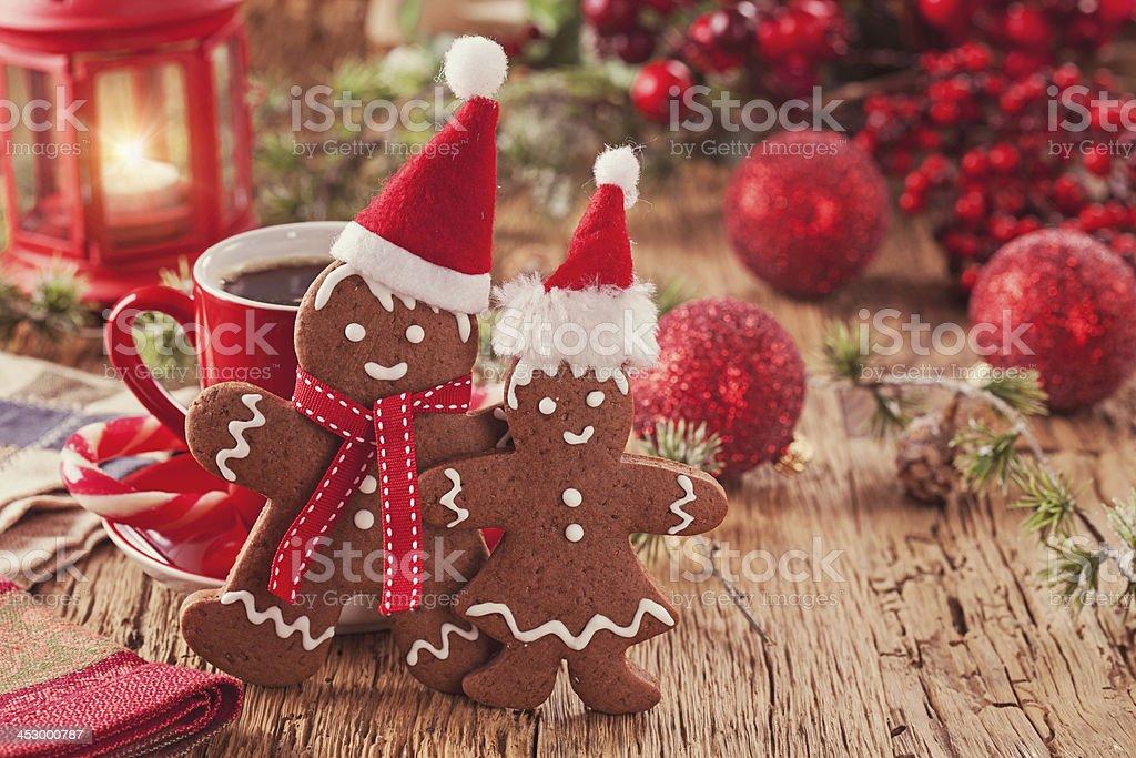 Christmas gingerbread men stock photo