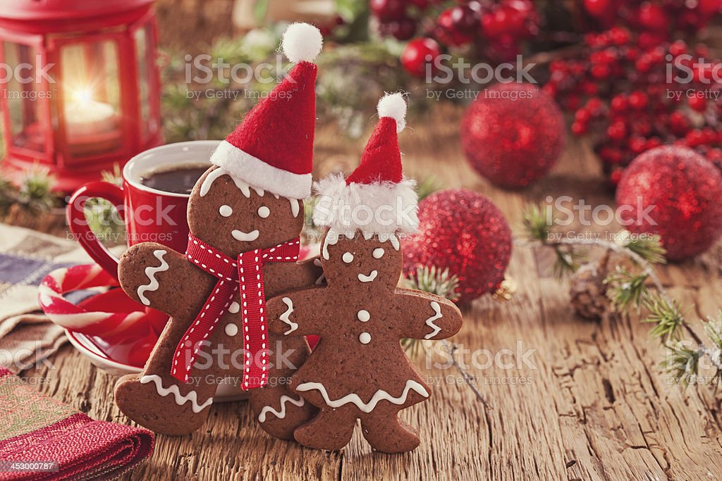 Christmas gingerbread men stock photo