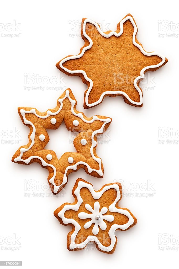 Christmas gingerbread snowflakes stock photo