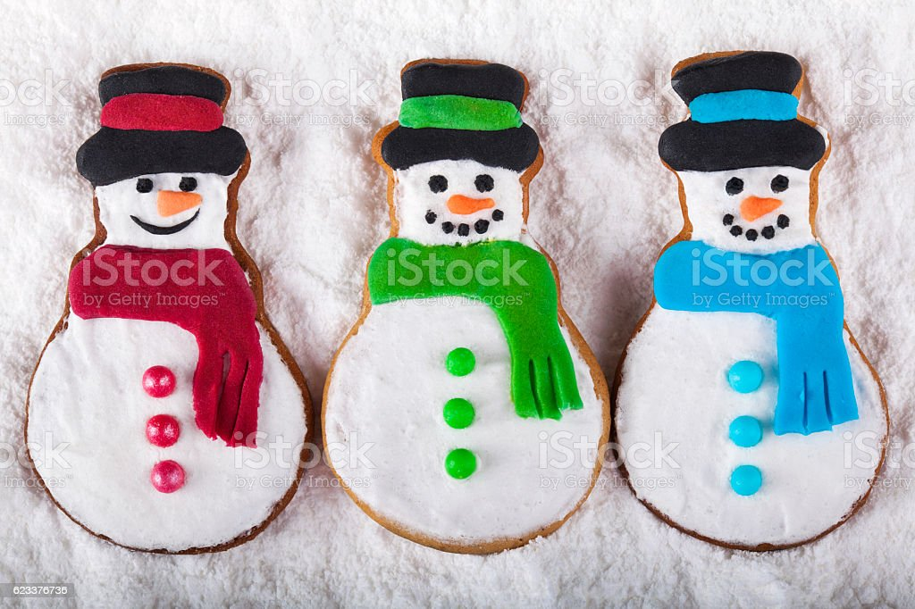 Christmas Gingerbread snowmen on the snow stock photo