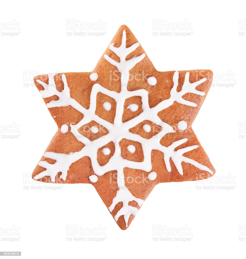 Christmas Gingerbread star cookie isolated on white stock photo