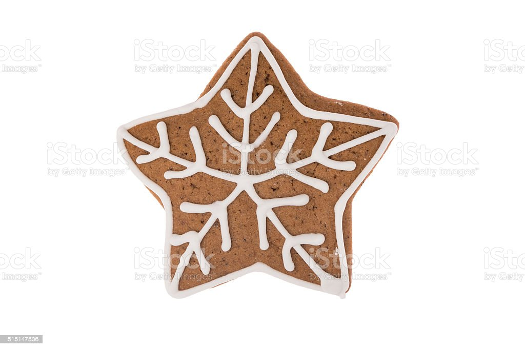 Christmas gingerbread star isolated on a white background stock photo