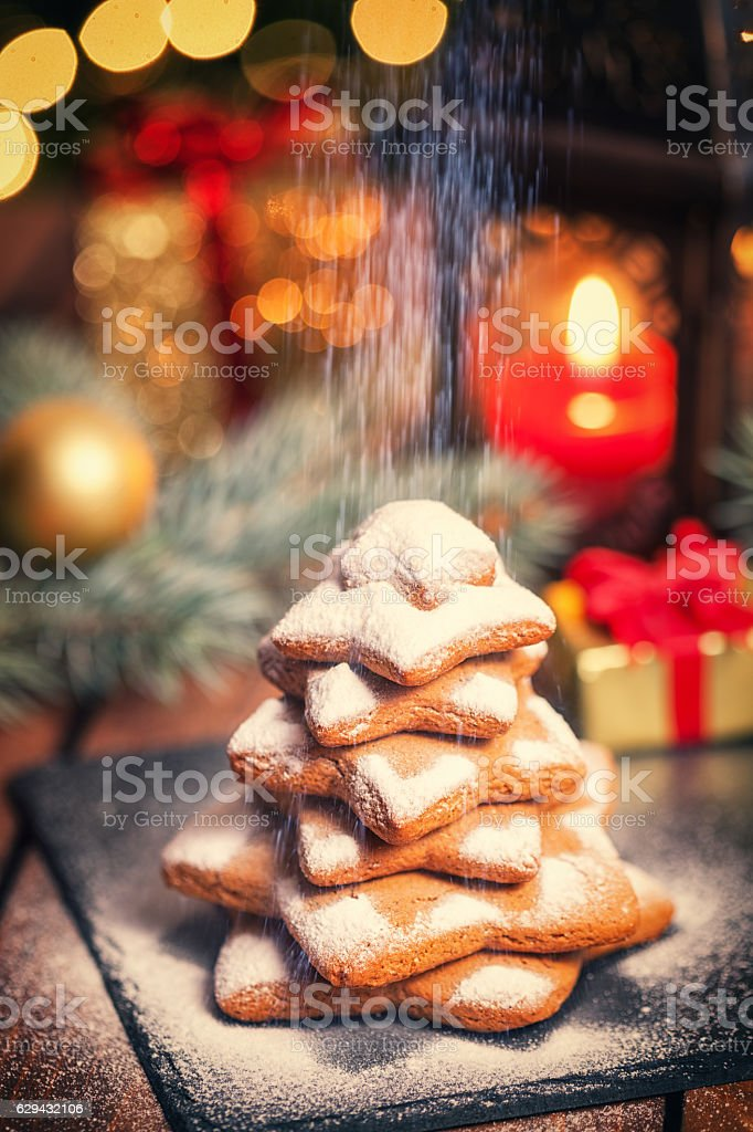 Christmas Gingerbread Star Shape Cookies stock photo