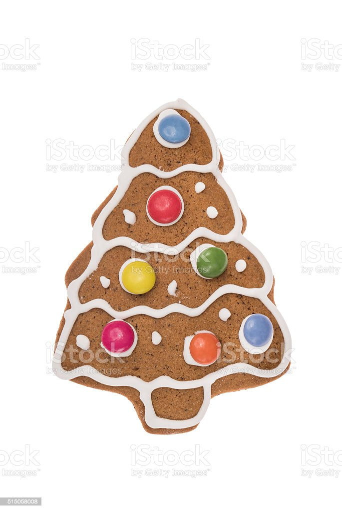 Christmas gingerbread tree isolated on a white background stock photo