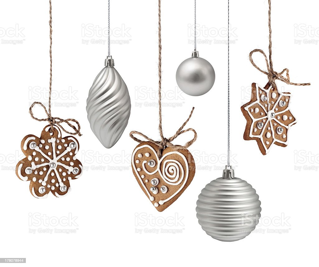 Christmas gingerbreads and decoration hanging stock photo