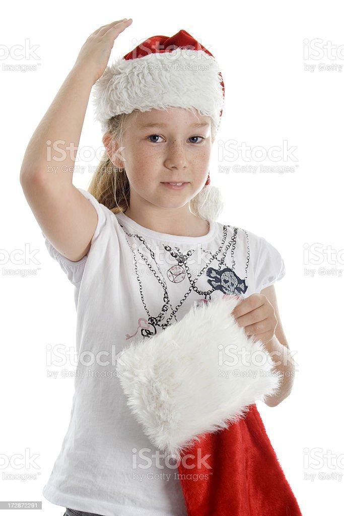Christmas Girl And Stocking stock photo